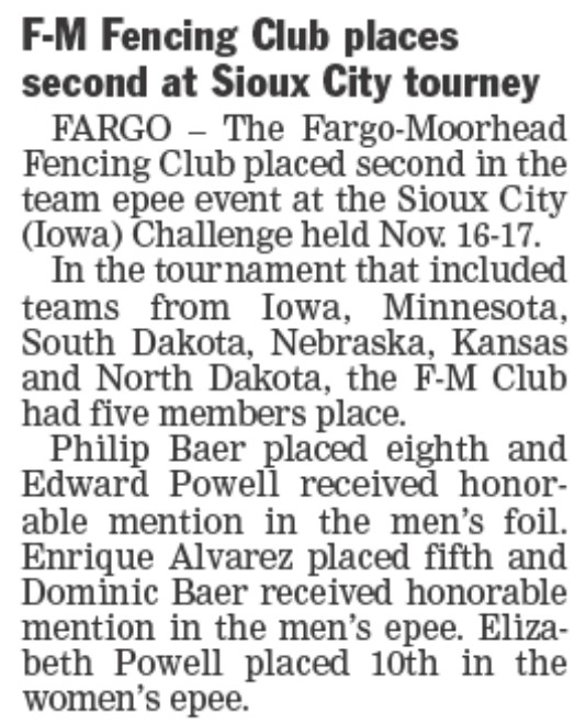 Fargo Forum 21Nov2013 Sioux City Tournament Article