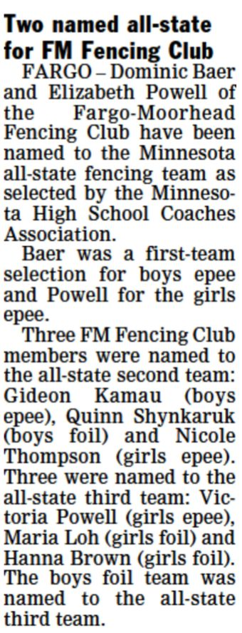 MN All State Fencers A